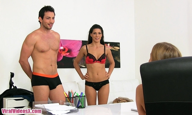 Female Agent Alexa Tomas and Alexis Crystal Sexy threesome with Spanish