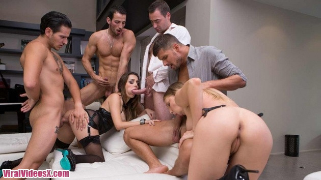 Dorcel Club - Cara St. Germain and Lucy Heart -  Escorts , get fucked by 4 men